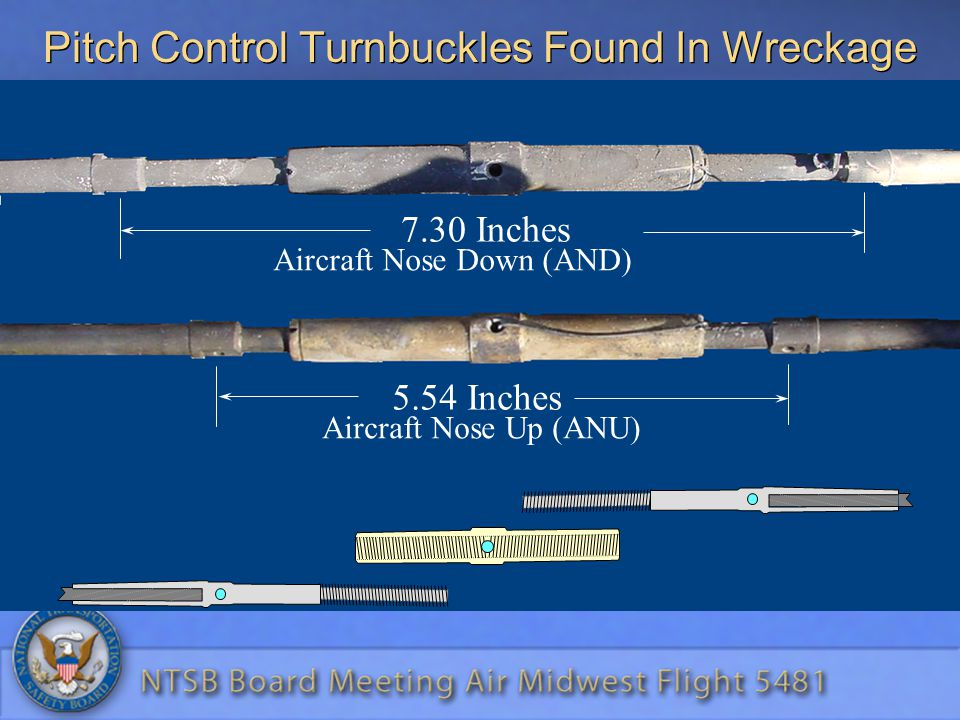 Pitch Control Turnbuckles Found In Wreckage 7.30 Inches Aircraft Nose Down (AND) 5.54 Inches Aircraft Nose Up (ANU)