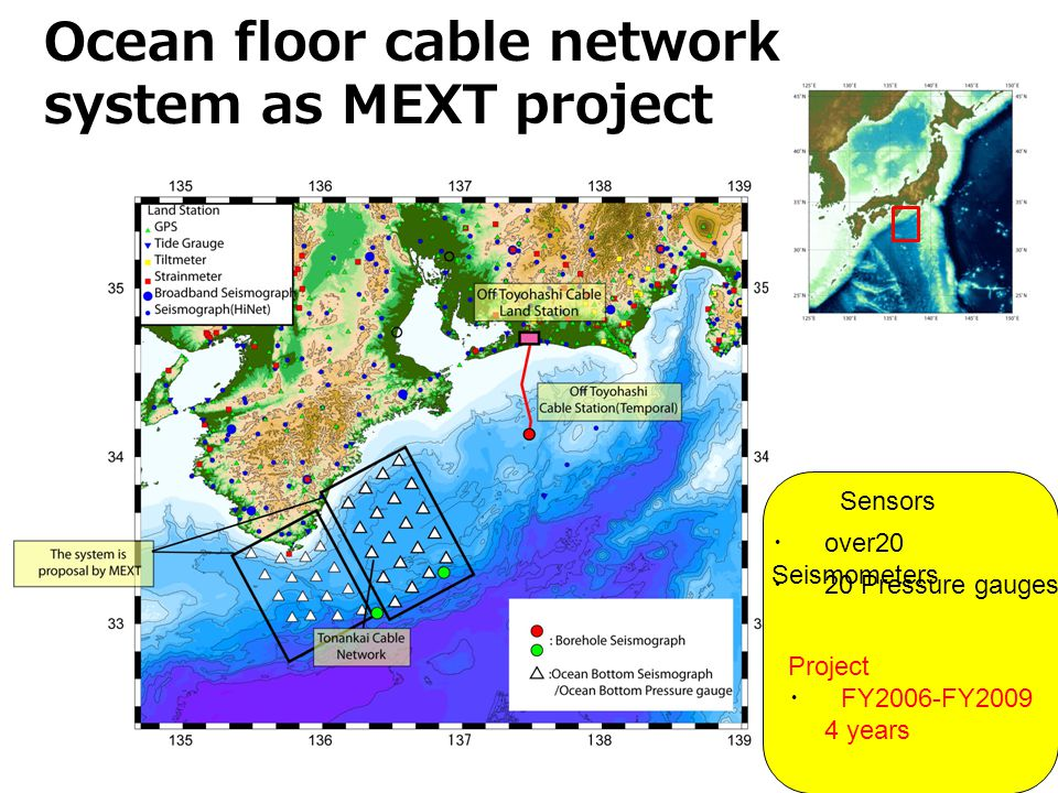 Ocean floor cable network system as MEXT project Sensors over20 Seismometers 20 Pressure gauges Project FY2006-FY years