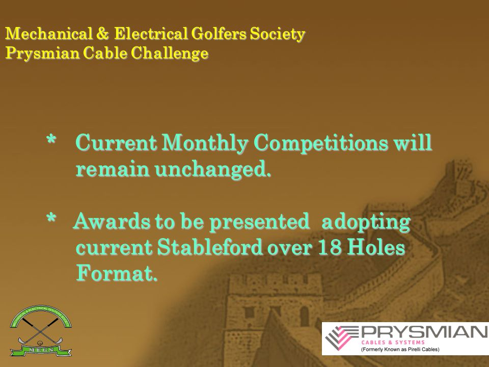 Mechanical & Electrical Golfers Society Prysmian Cable Challenge Current Annual Year End Awards * Best 4 Stablefords.