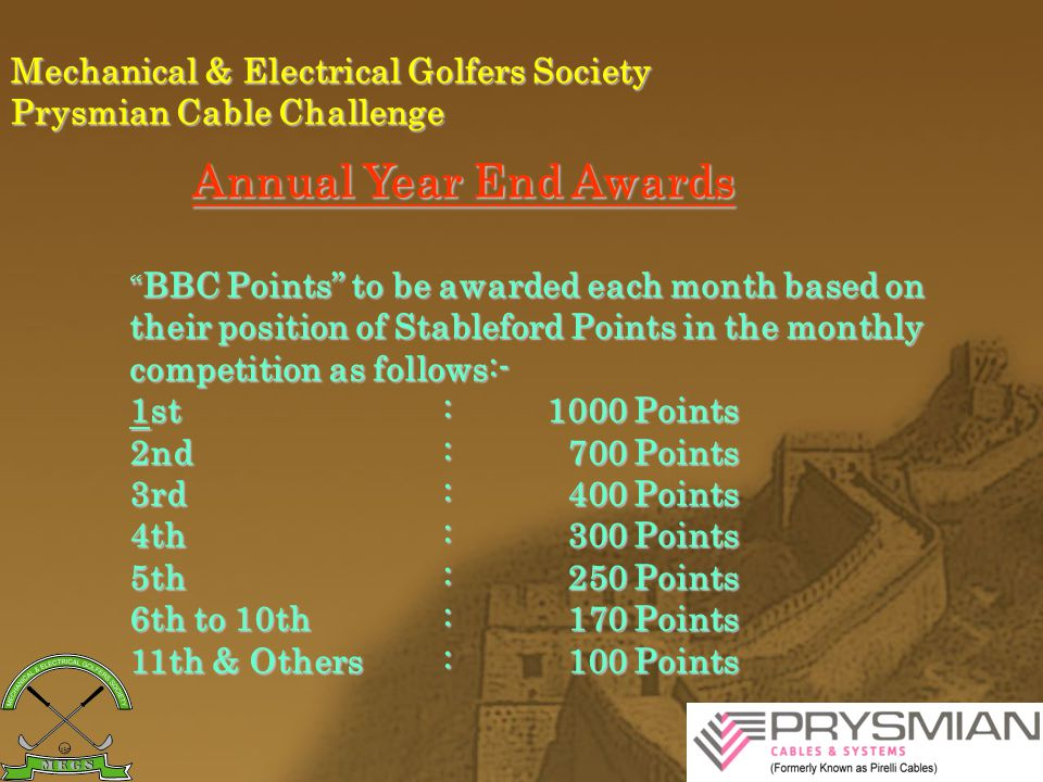 Mechanical & Electrical Golfers Society Prysmian Cable Challenge Annual Year End Awards * No count back system in case of a tie.