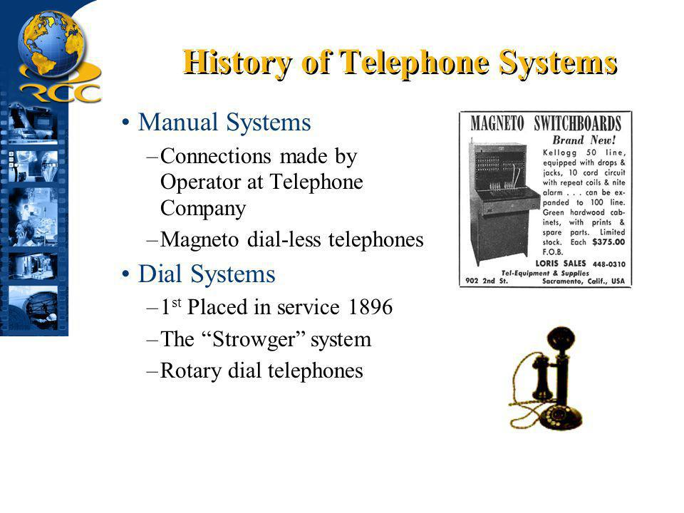 History of Telephone Systems Manual Systems –Connections made by Operator at Telephone Company –Magneto dial-less telephones Dial Systems –1 st Placed