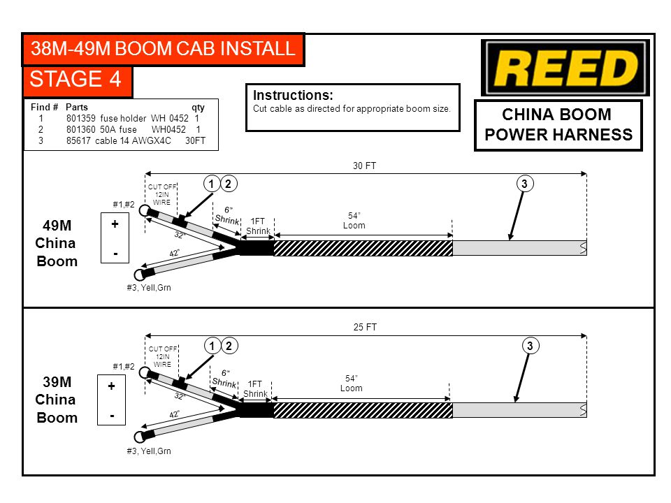 STAGE 4 38M-49M BOOM CAB INSTALL CHINA BOOM POWER HARNESS Instructions: Cut cable as directed for appropriate boom size.