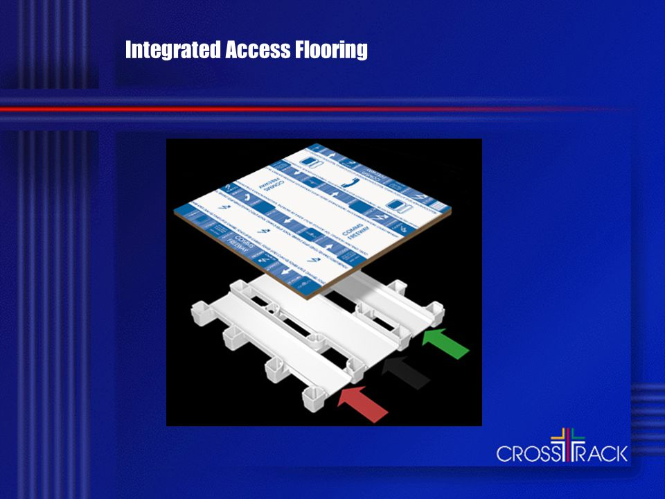 Crosstrack has Delivered for Over 200 Organisations Continuous cabling with partition walls on top Conforming to national wiring codes and telecommunications cabling standards Minimum down time through easy-access cable alterations or upgrades/refits A system warranted for 15 years - longer than any competitor