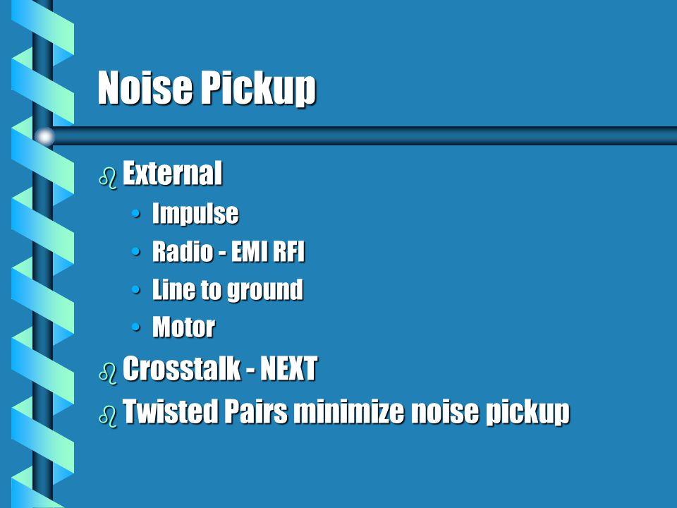 Noise Pickup b External ImpulseImpulse Radio - EMI RFIRadio - EMI RFI Line to groundLine to ground MotorMotor b Crosstalk - NEXT b Twisted Pairs minimize noise pickup