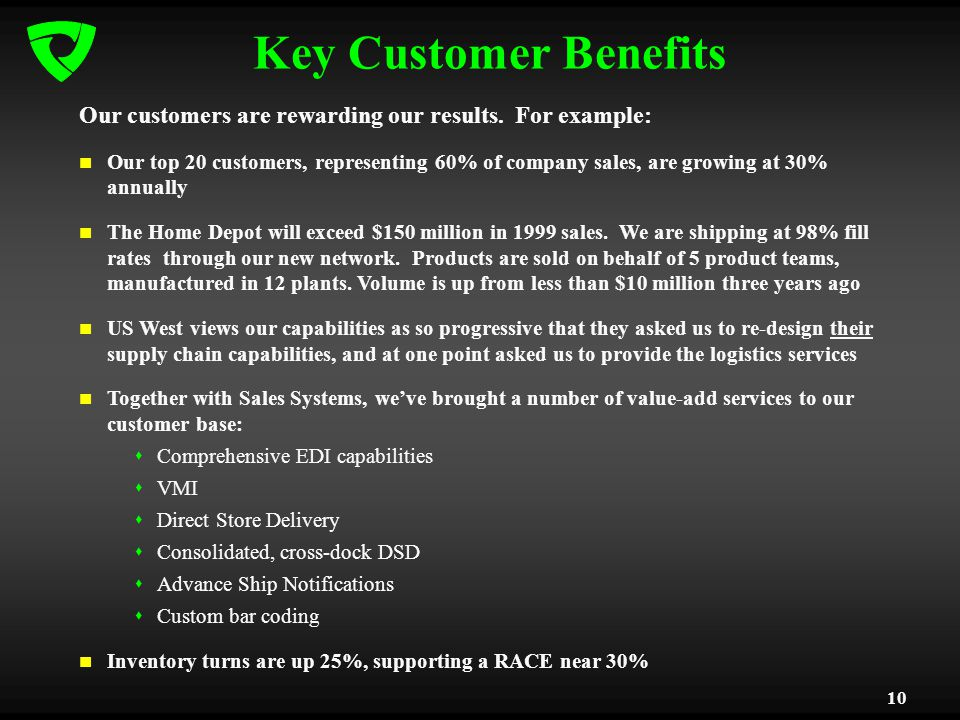 10 Key Customer Benefits Our customers are rewarding our results. For example: Our top 20 customers, representing 60% of company sales, are growing at
