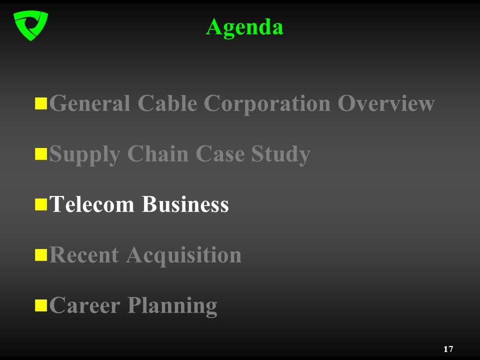 17 Agenda General Cable Corporation Overview Supply Chain Case Study Telecom Business Recent Acquisition Career Planning