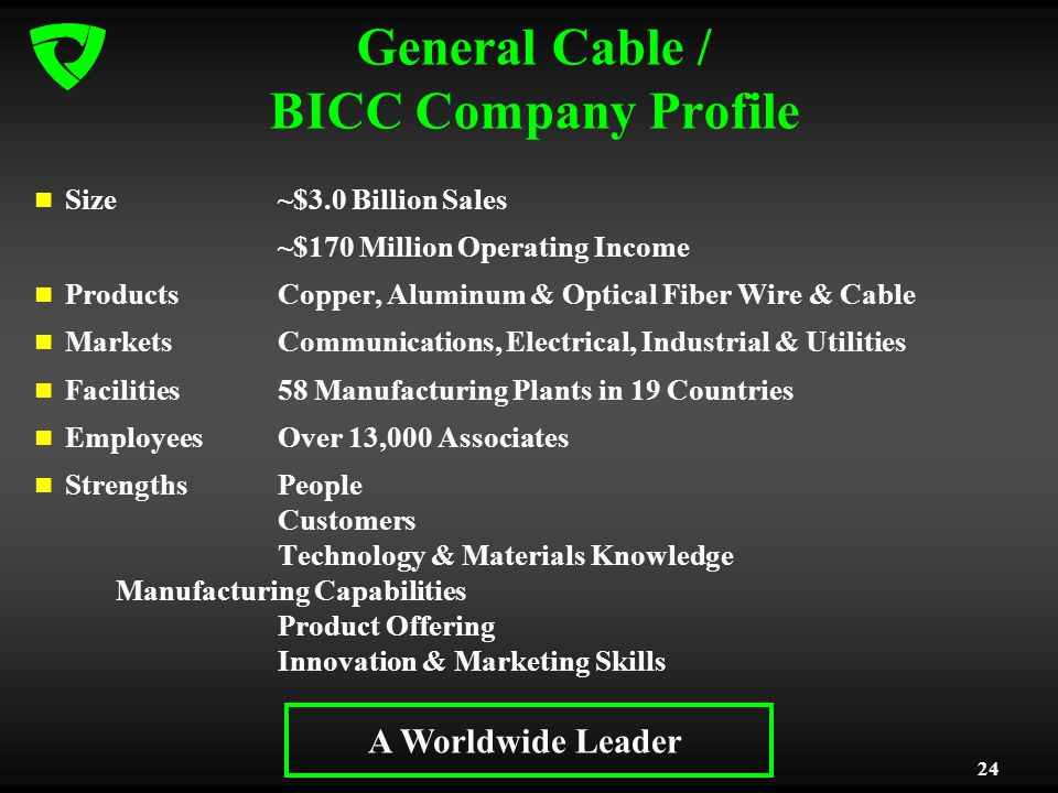 24 General Cable / BICC Company Profile Size~$3.0 Billion Sales ~$170 Million Operating Income ProductsCopper, Aluminum & Optical Fiber Wire & Cable MarketsCommunications, Electrical, Industrial & Utilities Facilities58 Manufacturing Plants in 19 Countries Employees Over 13,000 Associates Strengths People Customers Technology & Materials Knowledge Manufacturing Capabilities Product Offering Innovation & Marketing Skills A Worldwide Leader