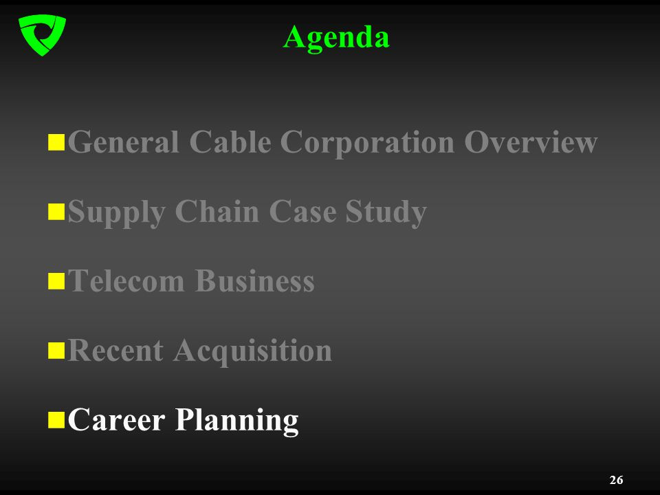 26 Agenda General Cable Corporation Overview Supply Chain Case Study Telecom Business Recent Acquisition Career Planning