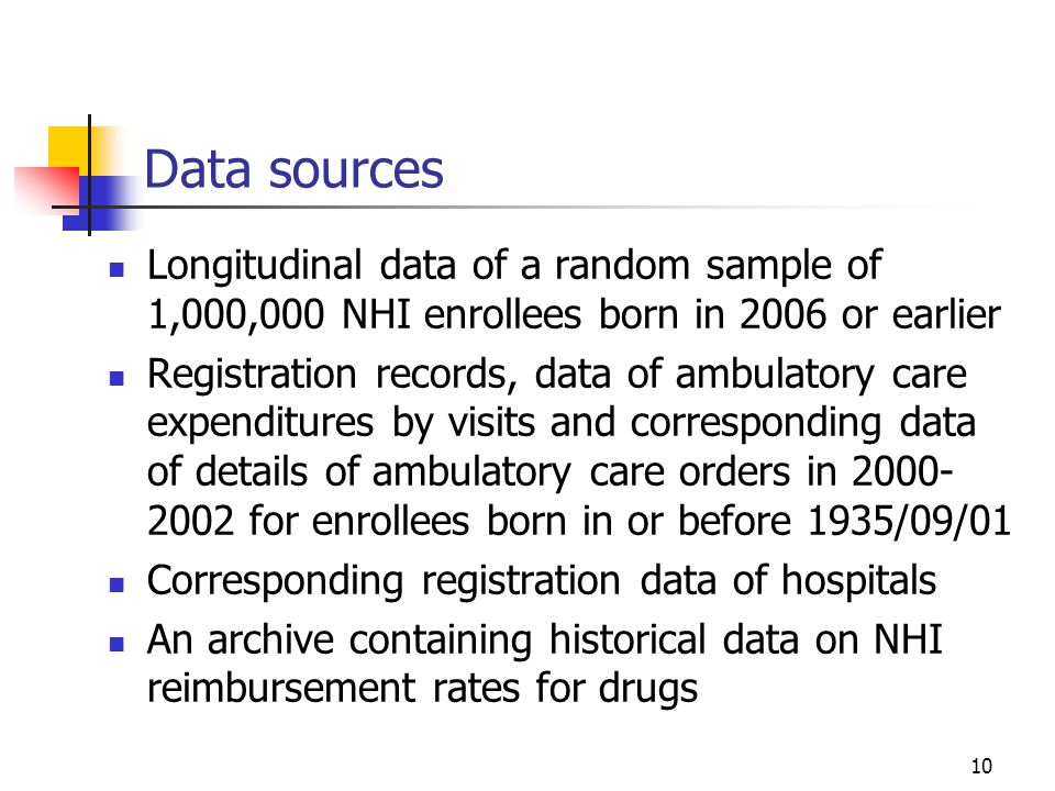 10 Data sources Longitudinal data of a random sample of 1,000,000 NHI enrollees born in 2006 or earlier Registration records, data of ambulatory care expenditures by visits and corresponding data of details of ambulatory care orders in for enrollees born in or before 1935/09/01 Corresponding registration data of hospitals An archive containing historical data on NHI reimbursement rates for drugs