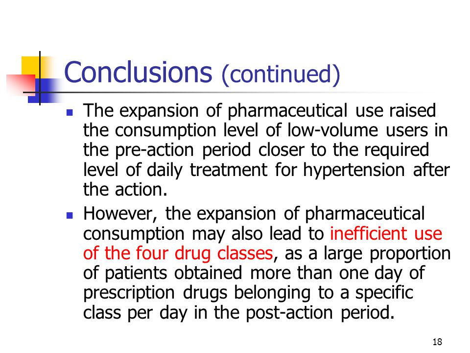 18 Conclusions (continued) The expansion of pharmaceutical use raised the consumption level of low-volume users in the pre-action period closer to the required level of daily treatment for hypertension after the action.