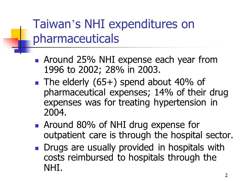 3 The most prevalent form of strategy for controlling NHI drug expenditures Methods for controlling drug expenditures: co-payment (demand- side); adjustments of drug reimbursement rates and global budgeting (supply-side) The most prevalent form of strategy: reducing reimbursement rates --- mainly targeting at hospitals