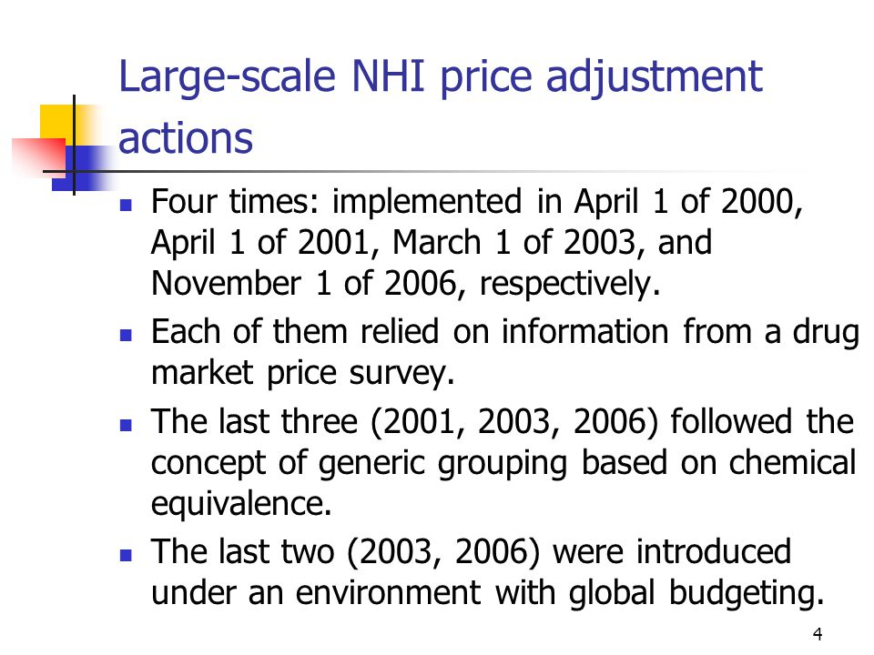 4 Large-scale NHI price adjustment actions Four times: implemented in April 1 of 2000, April 1 of 2001, March 1 of 2003, and November 1 of 2006, respectively.