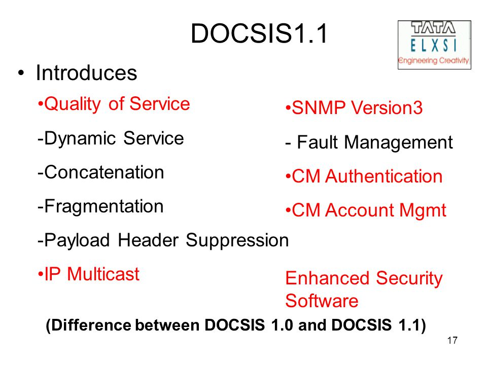 17 DOCSIS1.1 Introduces Quality of Service -Dynamic Service -Concatenation -Fragmentation -Payload Header Suppression IP Multicast SNMP Version3 - Fau