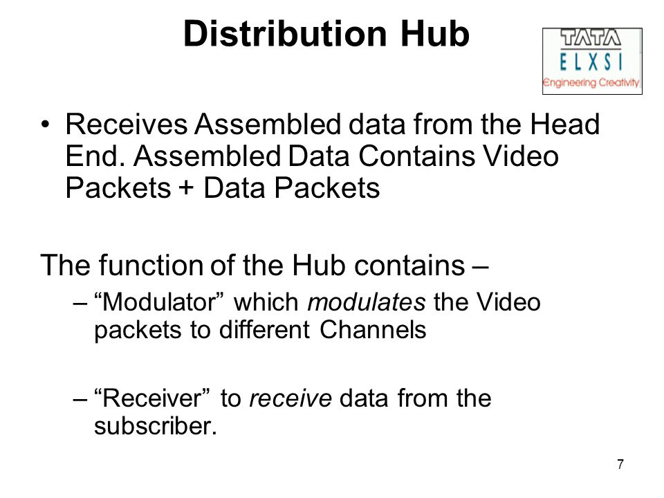 7 Distribution Hub Receives Assembled data from the Head End.