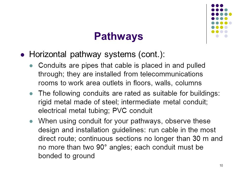 10 Horizontal pathway systems (cont.): Conduits are pipes that cable is placed in and pulled through; they are installed from telecommunications rooms