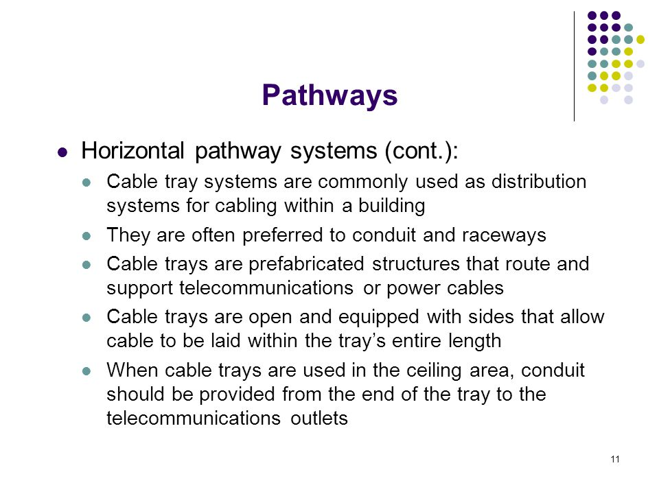 11 Horizontal pathway systems (cont.): Cable tray systems are commonly used as distribution systems for cabling within a building They are often prefe