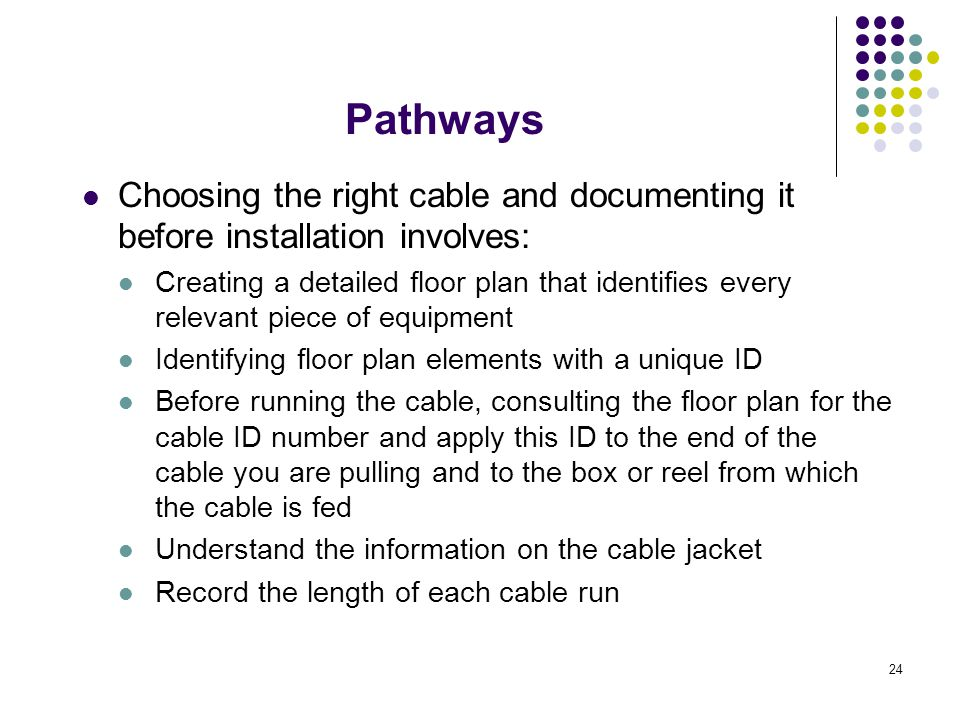 24 Choosing the right cable and documenting it before installation involves: Creating a detailed floor plan that identifies every relevant piece of eq