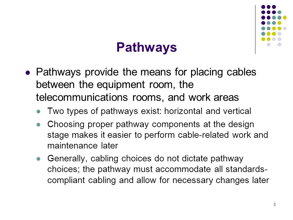 14 Horizontal pathway systems (cont.): Access (raised) floors sit above the existing subfloor and provide access to the space under its panels; Access floors are most often found in computer and equipment rooms There are two basic types of access flooring: standard and low-profile floors Access floors consist of the following components: steel footing which rest on the subfloor; pedestals support and interlock with lateral bracing and panels; modular floor panels rest on bracing and pedestals Pathways