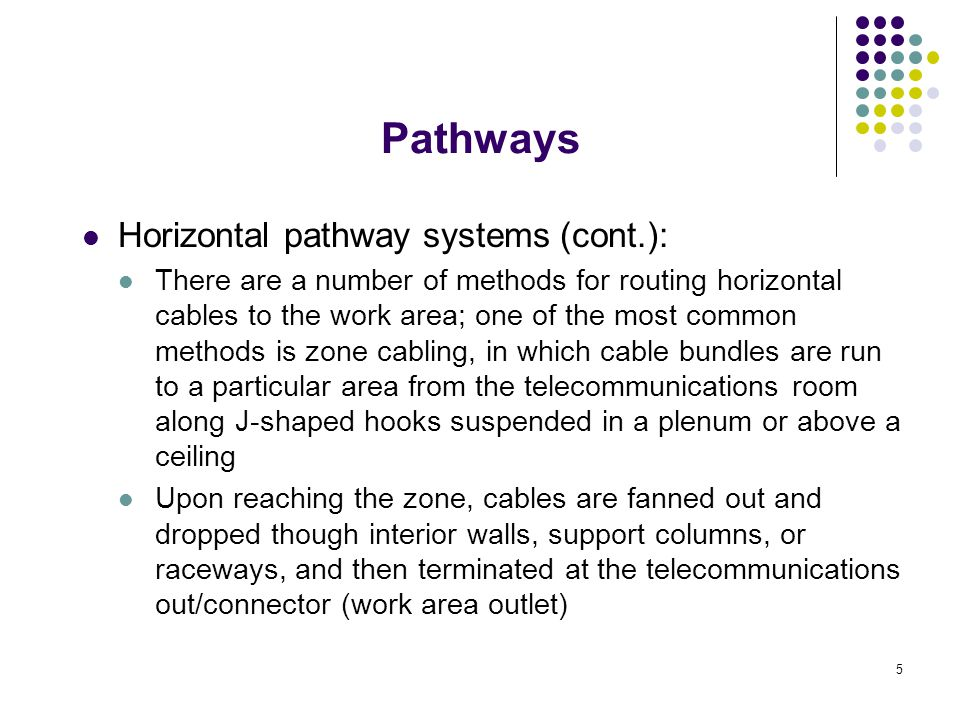 5 Horizontal pathway systems (cont.): There are a number of methods for routing horizontal cables to the work area; one of the most common methods is