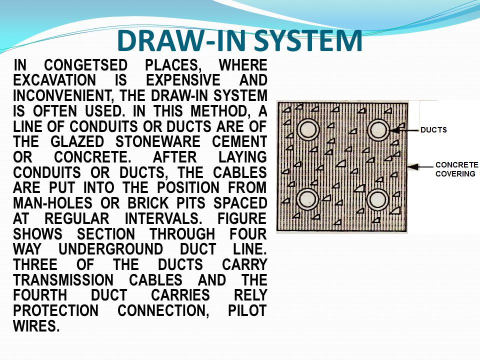 DRAW-IN SYSTEM IN CONGETSED PLACES, WHERE EXCAVATION IS EXPENSIVE AND INCONVENIENT, THE DRAW-IN SYSTEM IS OFTEN USED. IN THIS METHOD, A LINE OF CONDUI