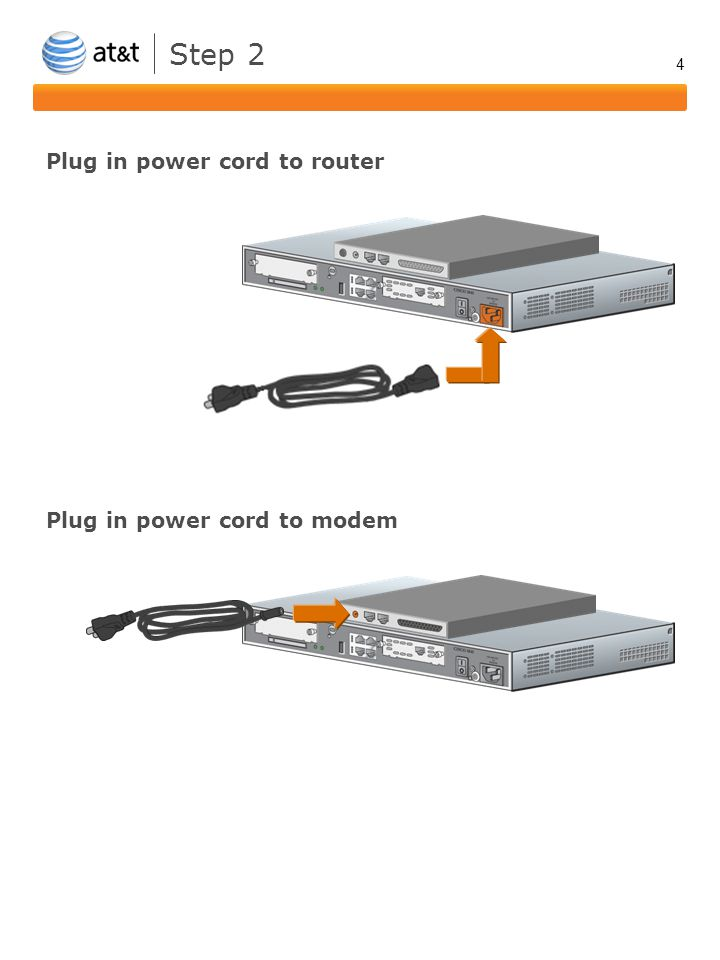 4 Step 2 Plug in power cord to router Plug in power cord to modem