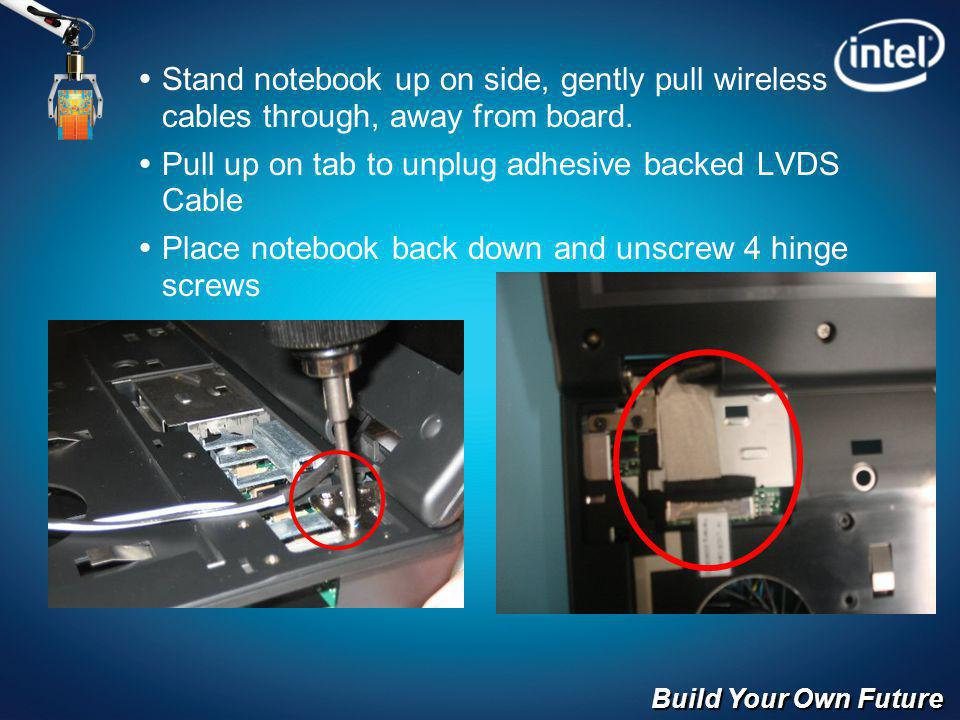 Build Your Own Future Stand notebook up on side, gently pull wireless cables through, away from board.
