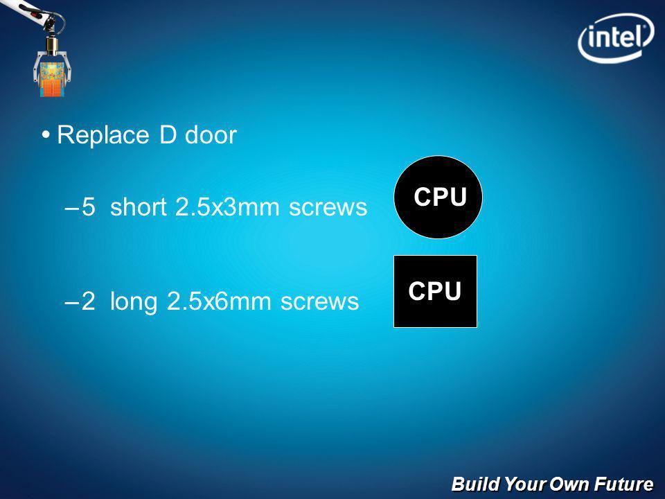 Build Your Own Future Replace D door –5 short 2.5x3mm screws –2 long 2.5x6mm screws CPU