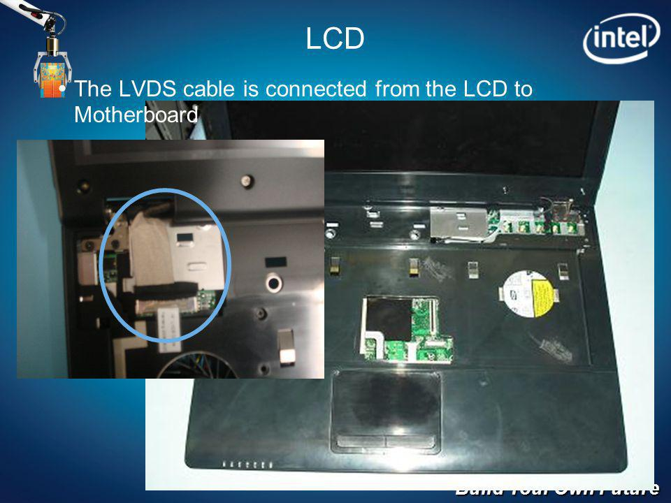 Build Your Own Future LCD The LVDS cable is connected from the LCD to Motherboard