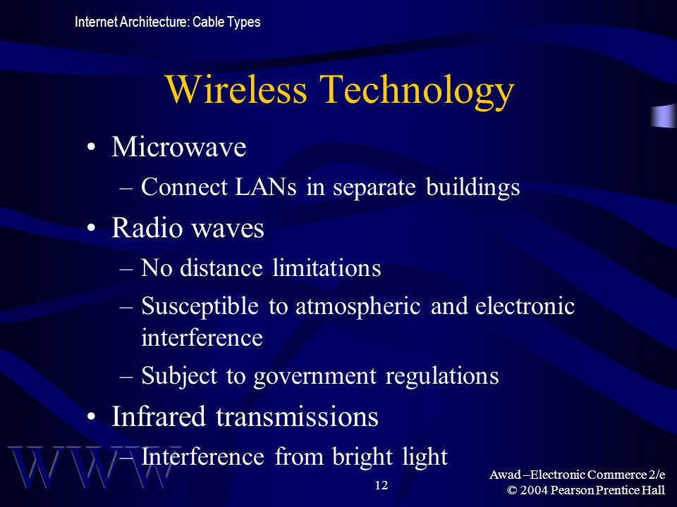 Awad –Electronic Commerce 2/e © 2004 Pearson Prentice Hall 12 Wireless Technology Microwave –Connect LANs in separate buildings Radio waves –No distan