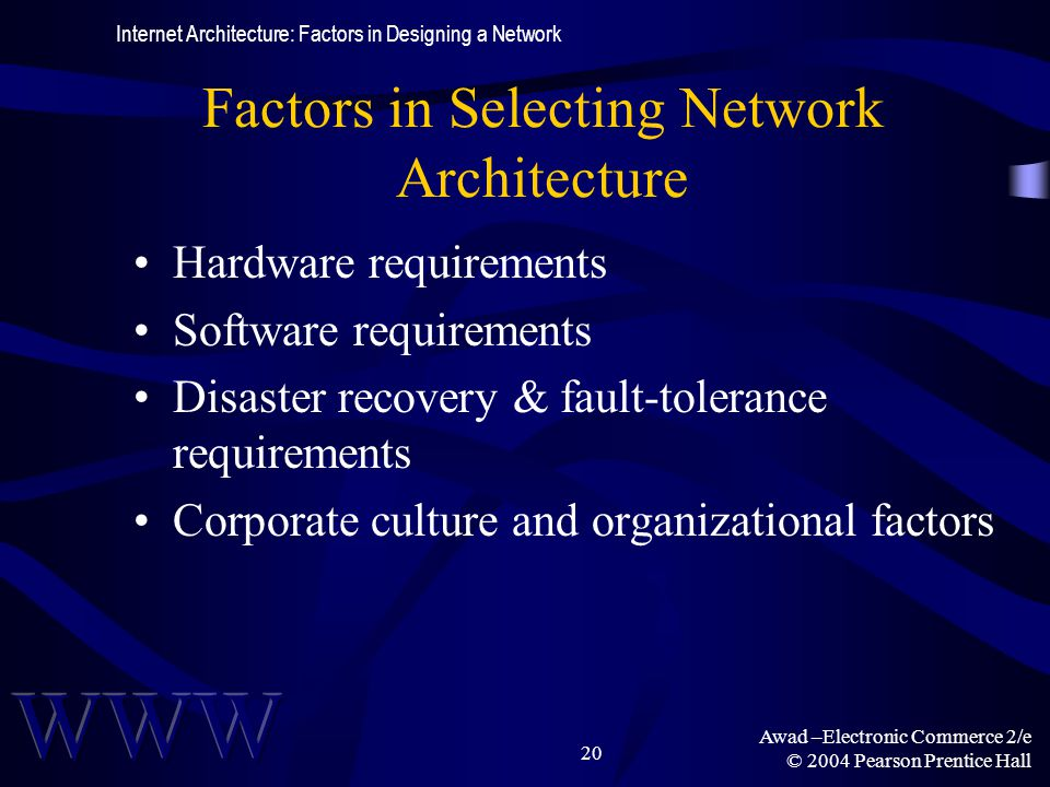 Awad –Electronic Commerce 2/e © 2004 Pearson Prentice Hall 20 Factors in Selecting Network Architecture Hardware requirements Software requirements Di