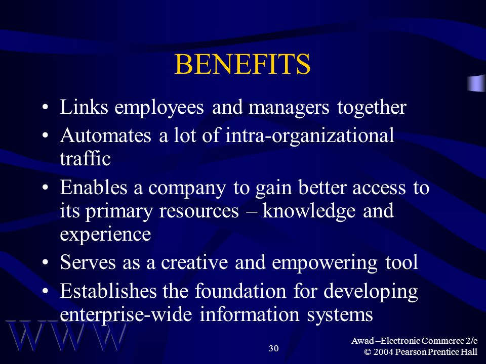 Awad –Electronic Commerce 2/e © 2004 Pearson Prentice Hall 30 BENEFITS Links employees and managers together Automates a lot of intra-organizational t