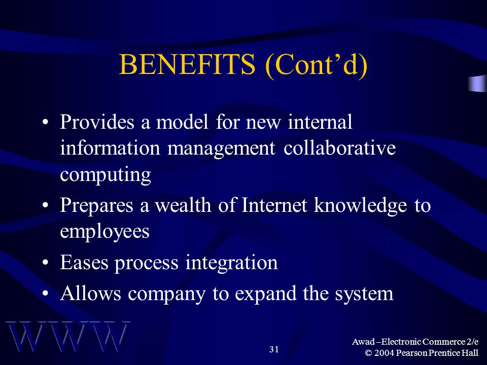 Awad –Electronic Commerce 2/e © 2004 Pearson Prentice Hall 31 BENEFITS (Contd) Provides a model for new internal information management collaborative
