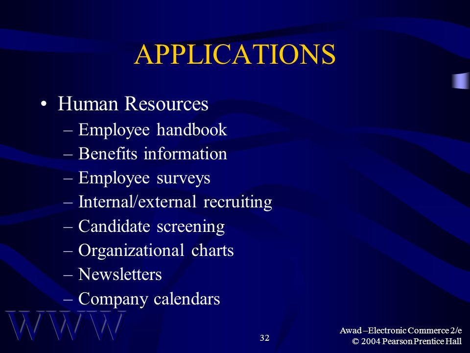 Awad –Electronic Commerce 2/e © 2004 Pearson Prentice Hall 32 APPLICATIONS Human Resources –Employee handbook –Benefits information –Employee surveys