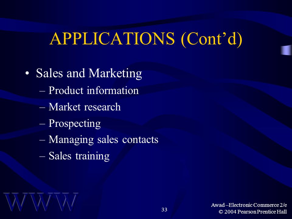 Awad –Electronic Commerce 2/e © 2004 Pearson Prentice Hall 33 APPLICATIONS (Contd) Sales and Marketing –Product information –Market research –Prospect