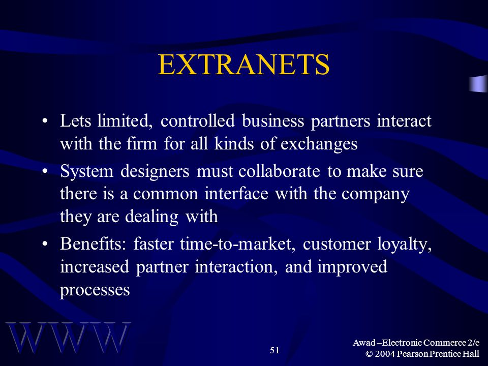 Awad –Electronic Commerce 2/e © 2004 Pearson Prentice Hall 51 EXTRANETS Lets limited, controlled business partners interact with the firm for all kind