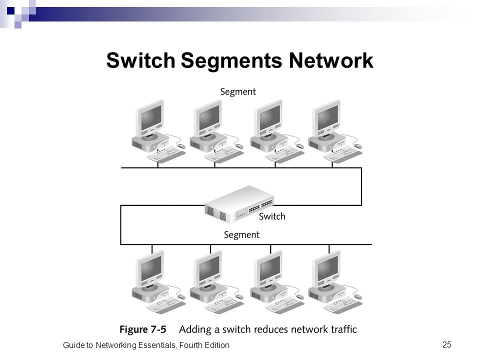 Guide to Networking Essentials, Fourth Edition25 Switch Segments Network