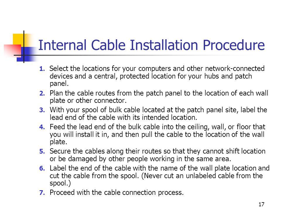 17 Internal Cable Installation Procedure 1.