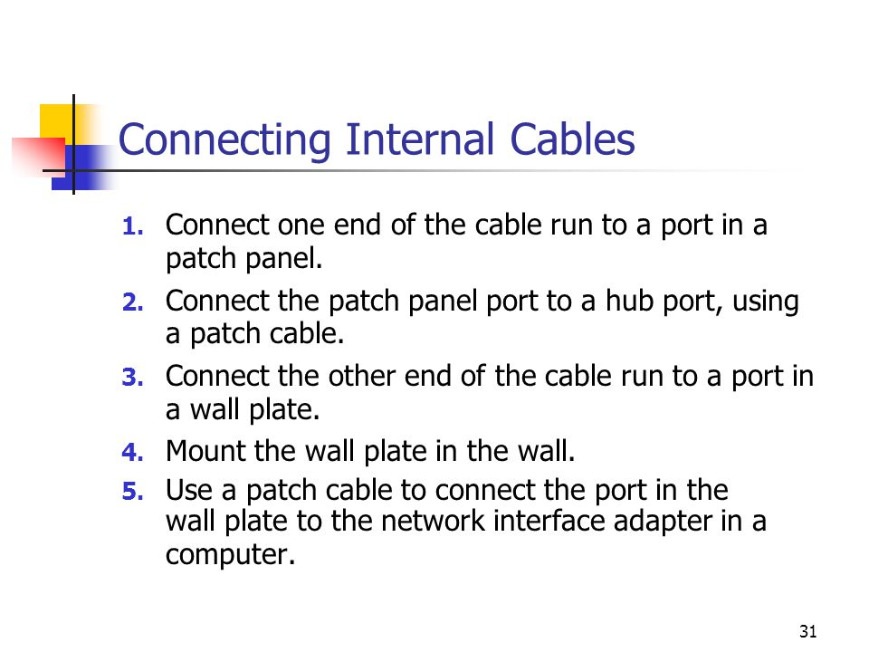 31 Connecting Internal Cables 1.Connect one end of the cable run to a port in a patch panel.