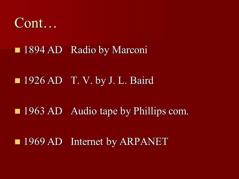 Cont… 1894 AD Radio by Marconi 1894 AD Radio by Marconi 1926 AD T.