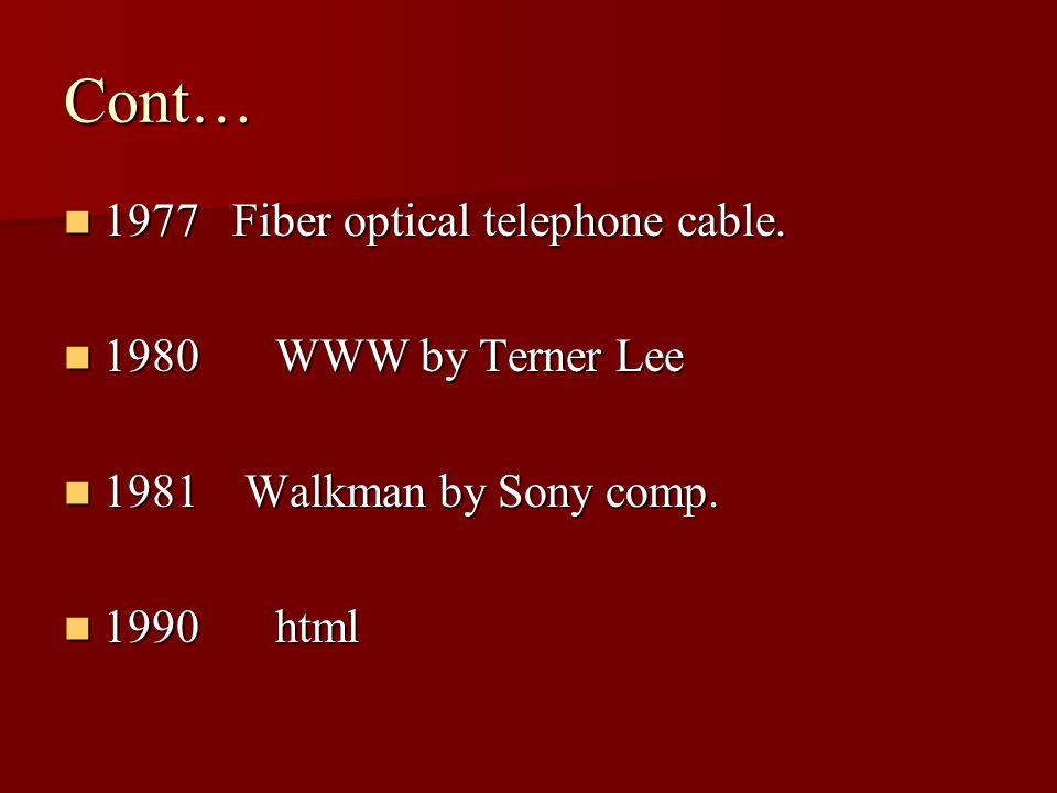 Cont… 1977 Fiber optical telephone cable. 1977 Fiber optical telephone cable.
