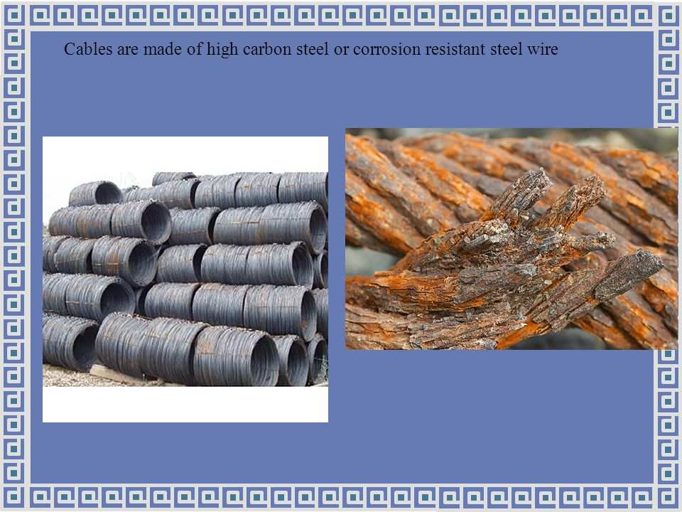 Cables are made of high carbon steel or corrosion resistant steel wire