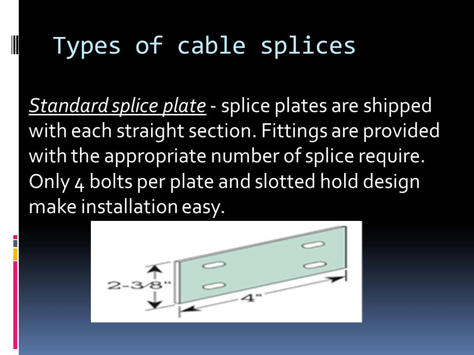 Types of cable splices Standard splice plate - splice plates are shipped with each straight section.