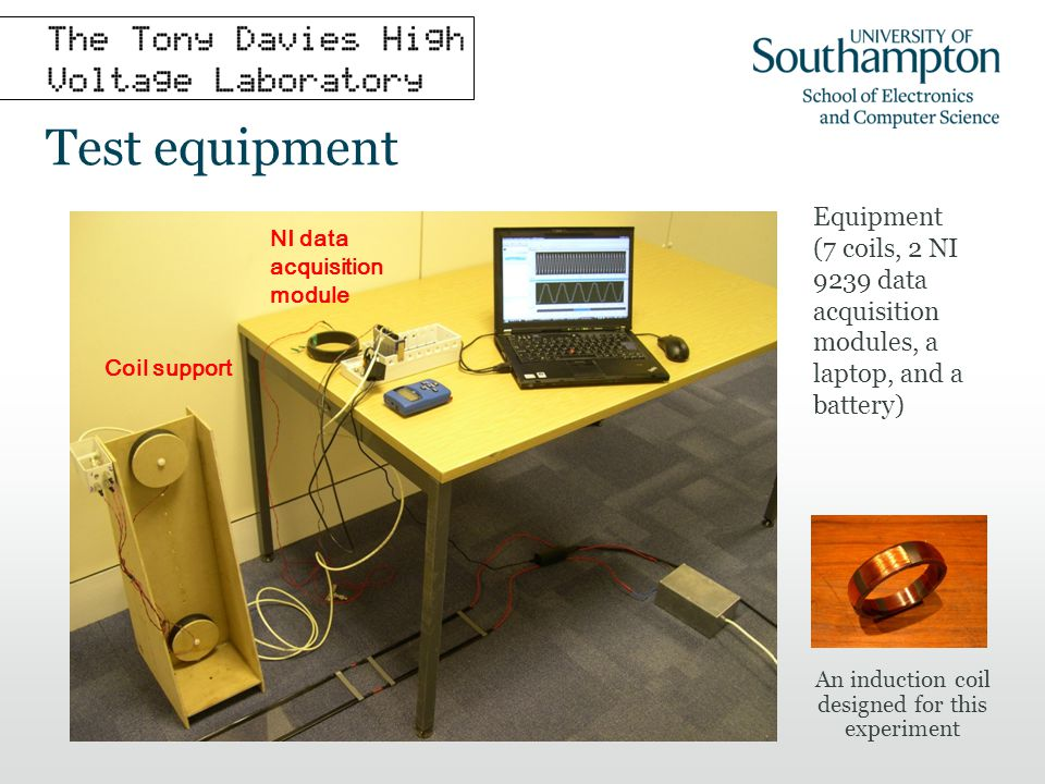 Cable search method Measurement The support frame with its 7 search coils is placed at a number of positions above the search area, and its position is recorded The voltages induced in the coils are measured, and Fourier analysis is used to extract the 50 Hz and harmonic signal components Analysis A least square error algorithm is then applied to the resulting data in order to estimate the cable currents and residual errors for various assumed cable positions The rms amplitude of the residual errors is then plotted against the assumed cable position to give an indication of the likely locations of a buried cable