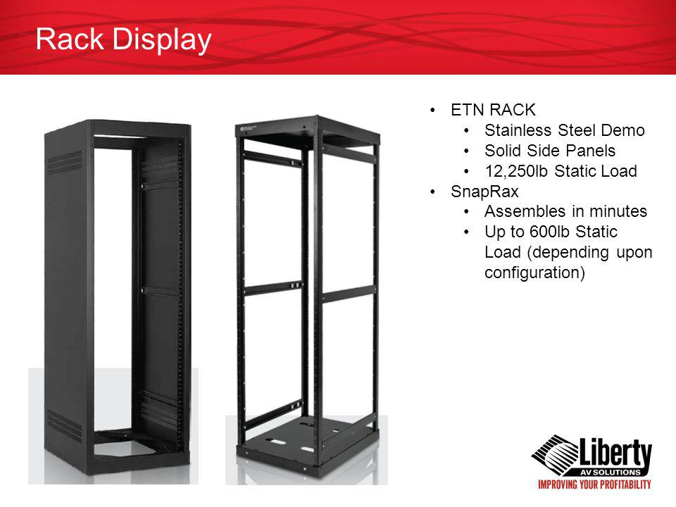 Rack Display ETN RACK Stainless Steel Demo Solid Side Panels 12,250lb Static Load SnapRax Assembles in minutes Up to 600lb Static Load (depending upon configuration)