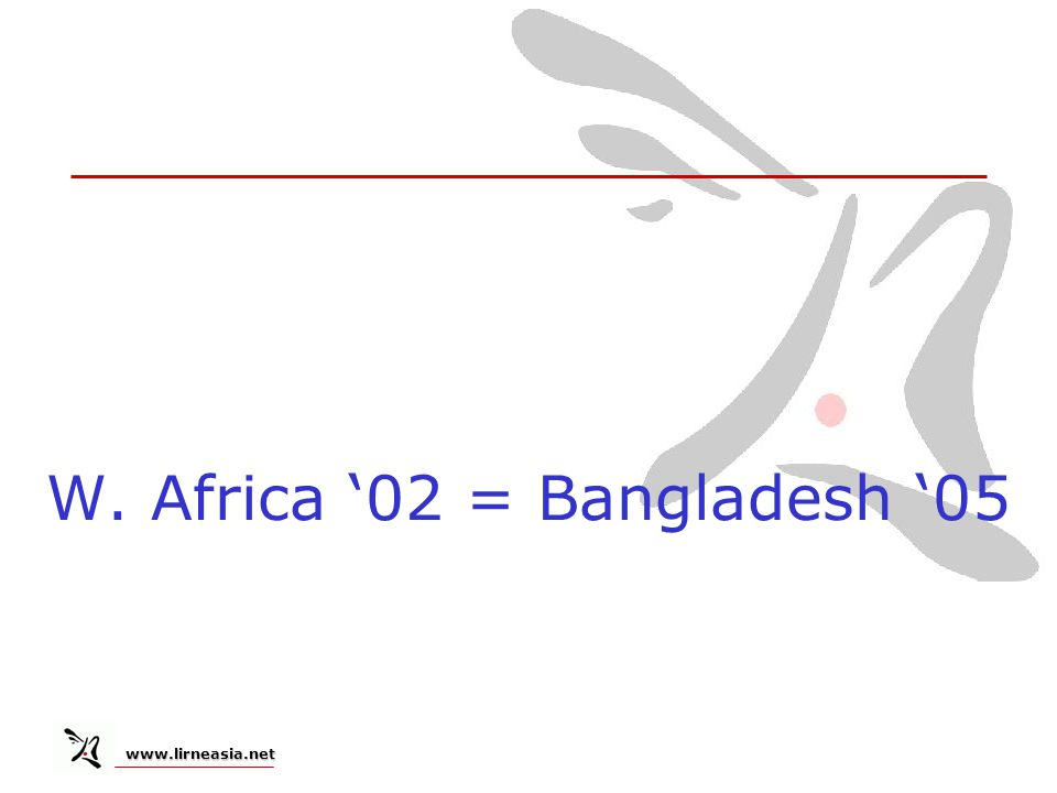 www.lirneasia.net www.lirneasia.net W. Africa 02 = Bangladesh 05