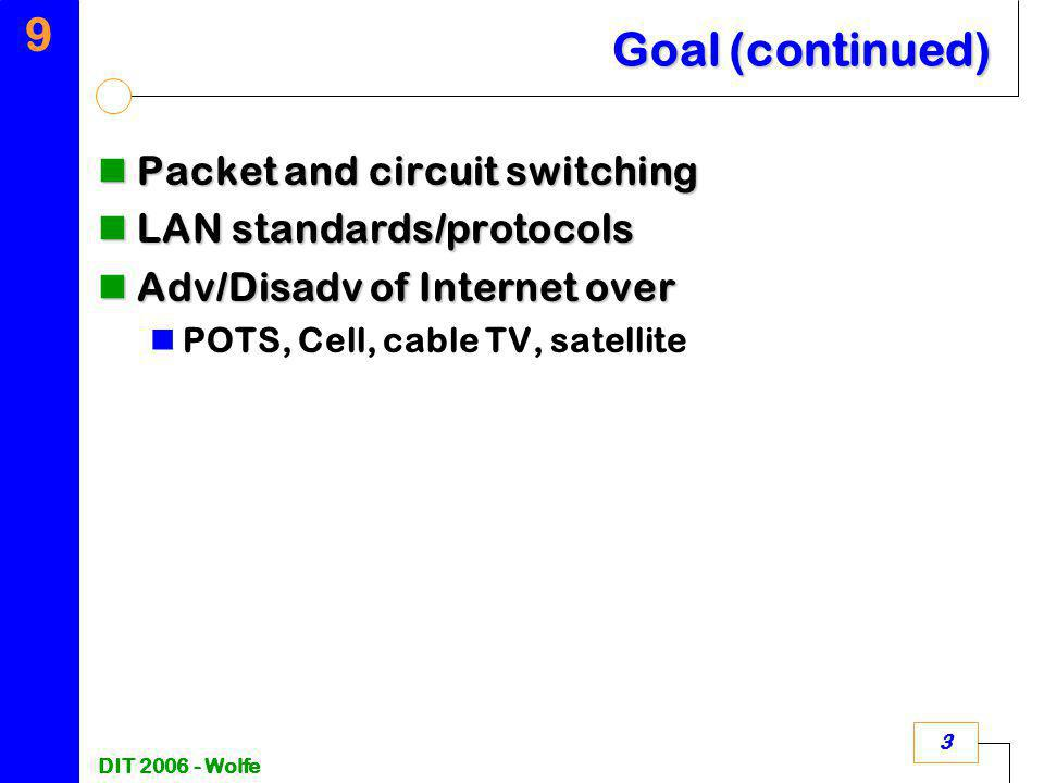 9 DIT 2006 - Wolfe 3 Goal (continued) Packet and circuit switching Packet and circuit switching LAN standards/protocols LAN standards/protocols Adv/Di