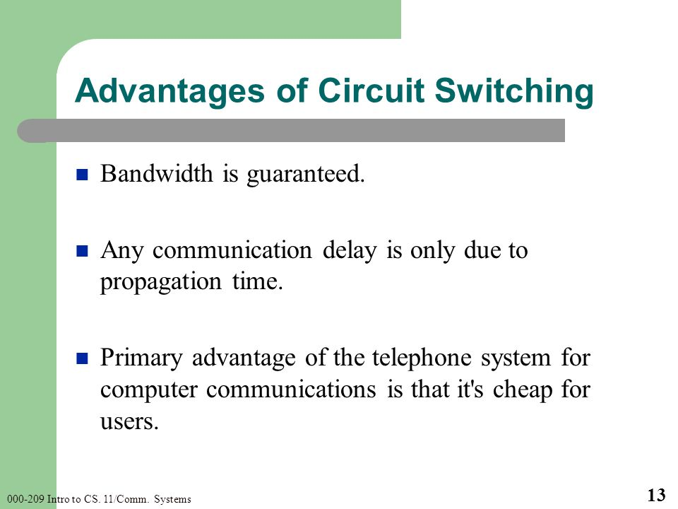 Intro to CS. 11/Comm. Systems 13 Advantages of Circuit Switching Bandwidth is guaranteed.