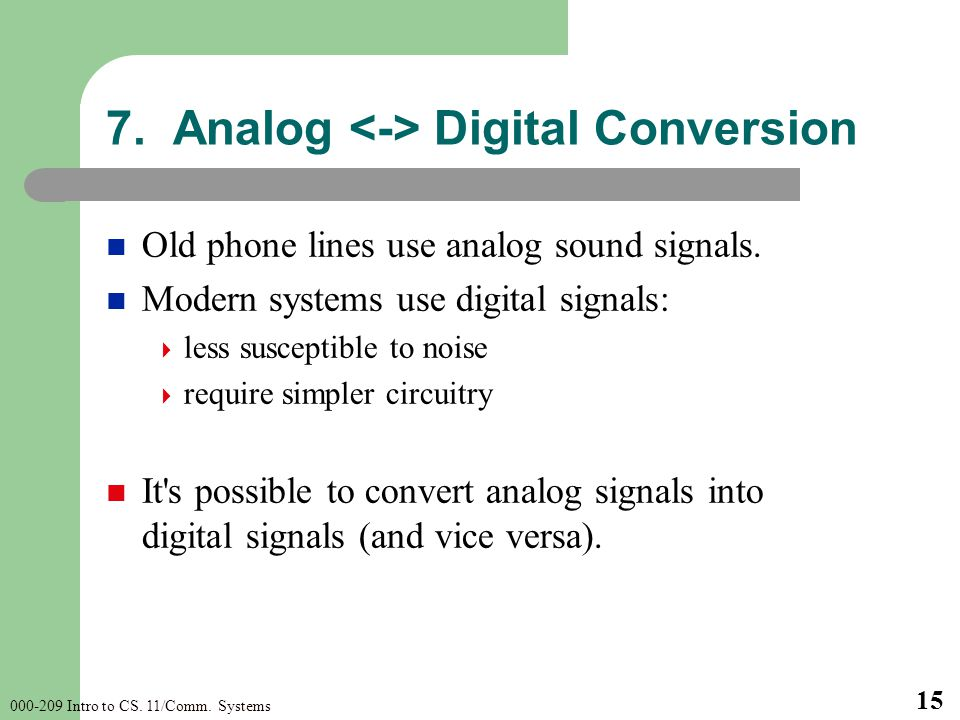 000-209 Intro to CS. 11/Comm. Systems 15 Old phone lines use analog sound signals. Modern systems use digital signals: less susceptible to noise requi
