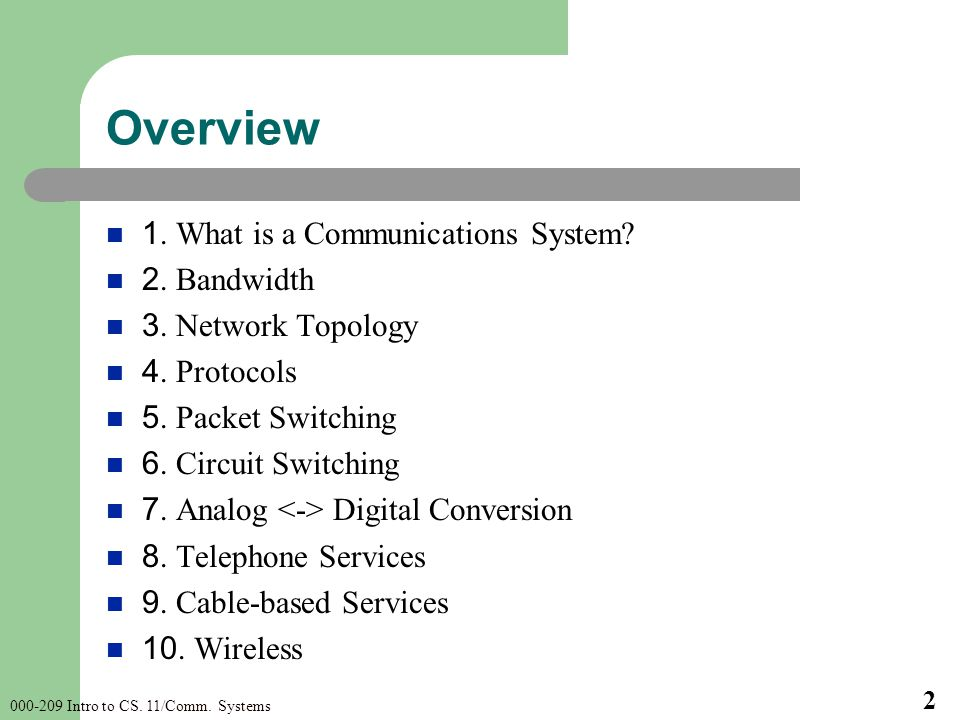 Intro to CS. 11/Comm. Systems 2 Overview 1.