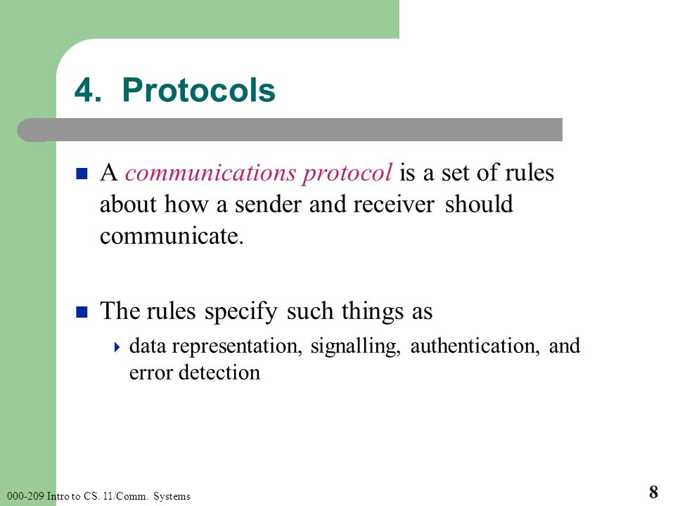 000-209 Intro to CS. 11/Comm. Systems 8 A communications protocol is a set of rules about how a sender and receiver should communicate. The rules spec